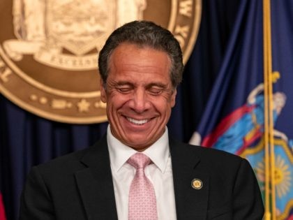 "NEW YORK, NY - JUNE 12: Governor Andrew Cuomo reacts during the daily media briefing at the Office of the Governor of the State of New York on June 12, 2020 in New York City. Gov. Andrew Cuomo signed the ""Say Their Name"" reform legislation, an agenda that calls for …"