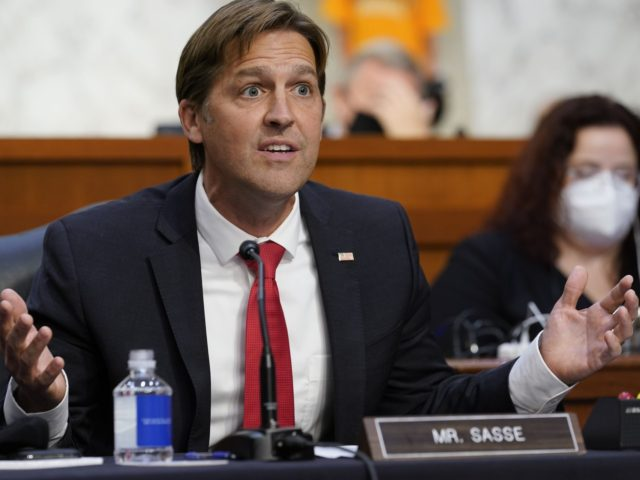 Sen. Ben Sasse R-Neb. speaks during a confirmation hearing for Supreme Court nominee Amy Coney Barrett before the Senate Judiciary Committee