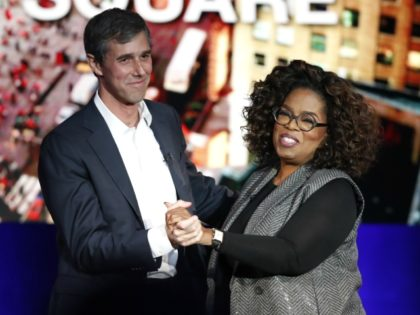 "Former Democratic Texas congressman Beto O'Rourke, left, appears with Oprah Winfrey for ""Oprah's SuperSoul Conversations from Times Square"" Tuesday, Feb. 5, 2019, in New York. The lineup on Tuesday also features actors Bradley Cooper and Michael B. Jordan and philanthropist Melinda Gates, underscoring the sense of celebrity that surrounds O'Rourke. …"