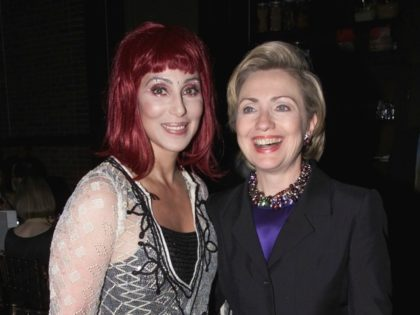 Cher and Hillary Clinton at Hillary Clinton's Birthday Party at the Hudson Hotel in New York City. October 25, 2000 (Photo: Nick Elgar/ImageDirect)