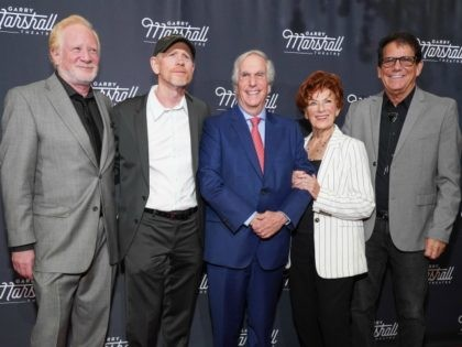 "LOS ANGELES, CALIFORNIA - NOVEMBER 13: (L-R) Don Most, Ron Howard, Henry Winkler, Marion Ross and Anson Williams attend Garry Marshall Theatre's 3rd Annual Founder's Gala Honoring Original ""Happy Days"" Cast at The Jonathan Club on November 13, 2019 in Los Angeles, California. (Photo by Rachel Luna/Getty Images)"