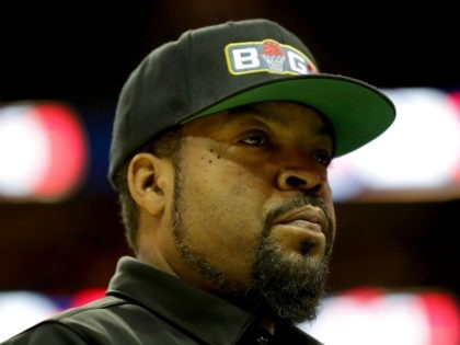 CHARLOTTE, NC - JULY 02: Ice Cube watches the action during week two of the BIG3 three on three basketball league at Spectrum Center on July 2, 2017 in Charlotte, North Carolina. (Photo by Streeter Lecka/Getty Images)