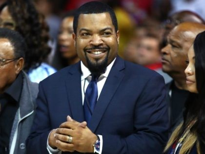 NEW YORK, NY - JUNE 25: Ice Cube applauds during week one of the BIG3 three on three basketball league at Barclays Center on June 25, 2017 in New York City. (Photo by Al Bello/Getty Images)