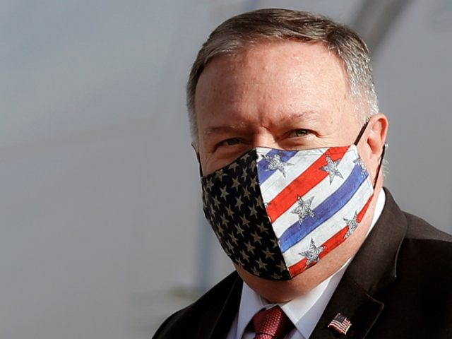 US Secretary of State Mike Pompeo arrives at Ciampino airport in Rome, Italy, on September 30, 2020. - Secretary of State Mike Pompeo visits Rome on September 30, just a month ahead of the US elections and hot on the heels of a diplomatic breach with the Vatican, that experts …