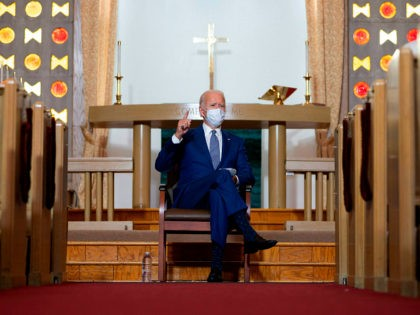 TOPSHOT - Democratic presidential candidate and former US Vice President Joe Biden speaks at Grace Lutheran Church in Kenosha, Wisconsin, on September 3, 2020, in the aftermath of the police shooting of Jacob Blake. (Photo by JIM WATSON / AFP) (Photo by JIM WATSON/AFP via Getty Images)