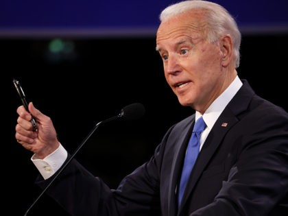 NASHVILLE, TENNESSEE - OCTOBER 22: Democratic presidential nominee Joe Biden participates in the final presidential debate against U.S. President Donald Trump at Belmont University on October 22, 2020 in Nashville, Tennessee. This is the last debate between the two candidates before the election on November 3. (Photo by Justin Sullivan/Getty …