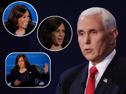 (INSERTS: Kamala Harris) SALT LAKE CITY, UTAH - OCTOBER 07: U.S. Vice President Mike Pence participates in the vice presidential debate at the University of Utah on October 7, 2020 in Salt Lake City, Utah. The vice presidential candidates only meet once to debate before the general election on November …