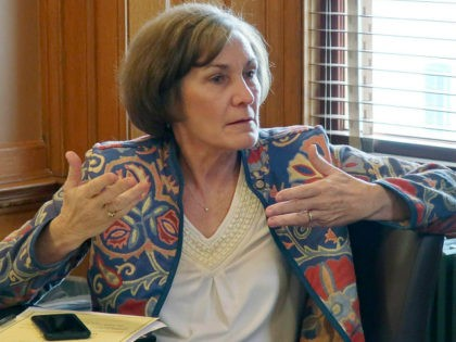 FILE - In this Feb. 13, 2019, file photo, state Sen. Barbara Bollier, D-Mission Hills, speaks during a meeting of Democratic senators at the Statehouse in Topeka, Kan. Rep. Roger Marshall and Bollier meet in their first debate of their race to replace retiring Sen. Pat Roberts. (AP Photo/John Hanna, …