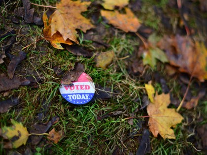 """PHILADELPHIA, PA - OCTOBER 27: An """"I VOTED TODAY"""" sticker lies amid fallen maple leaves outside of an early voting satellite polling location on October 27, 2020 in Philadelphia, Pennsylvania. With the election only a week away, this new form of in-person voting by using mail ballots has enabled tens …"""
