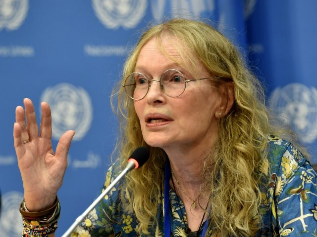Mia Farrow, UNICEF Goodwill Ambassador, speaks to the media about her visit to the Central African Republic July 22, 2014 at United Nations headquarters in New York. AFP PHOTO/Stan HONDA (Photo credit should read STAN HONDA/AFP via Getty Images)