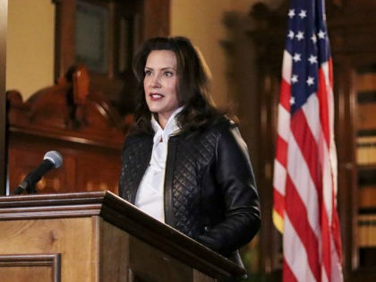 In a photo provided by the Michigan Office of the Governor, Michigan Gov. Gretchen Whitmer addresses the state during a speech in Lansing, Mich., Thursday, Oct. 8, 2020. The governor delivered remarks addressing Michiganders after the Michigan Attorney General, Michigan State Police, U.S. Department of Justice, and FBI announced state …
