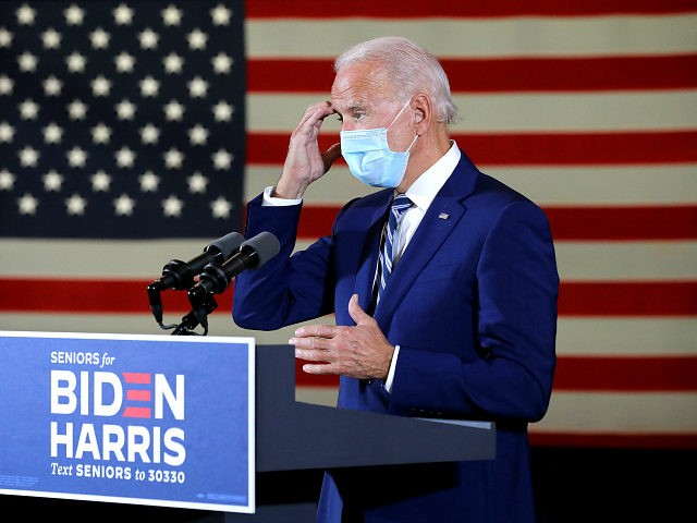 PEMBROKE PINES, FLORIDA - OCTOBER 13: Wearing a face mask to reduce the risk posed by the coronavirus, Democratic presidential nominee Joe Biden delivers remarks about his 'vision for older Americans' at Southwest Focal Point Community Center October 13, 2020 in Pembroke Pines, Florida. With three weeks until Election Day, …