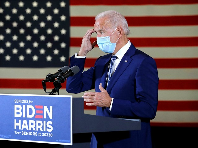 PEMBROKE PINES, FLORIDA - OCTOBER 13: Wearing a face mask to reduce the risk posed by the coronavirus, Democratic presidential nominee Joe Biden delivers remarks about his 'vision for older Americans' at Southwest Focal Point Community Center October 13, 2020 in Pembroke Pines, Florida. With three weeks until Election Day, Biden is campaigning in Florida. (Photo by Chip Somodevilla/Getty Images)