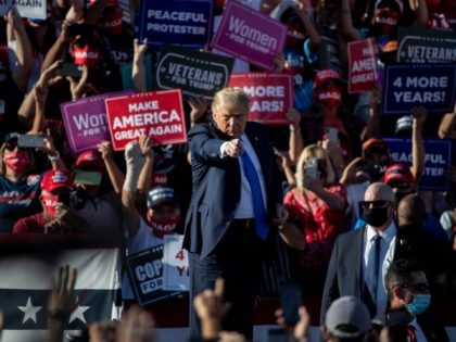 CARSON CITY, NV - OCTOBER 18: President Donald Trump gestures during a campaign rally on October 18, 2020 in Carson City, Nevada. With 16 days to go before the November election, President Trump is back on the campaign trail with multiple daily events as he continues to campaign against Democratic …