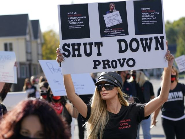 Paris Hilton leads a protest Friday, Oct. 9, 2020, in Provo, Utah. Hilton was in Utah Friday to lead a protest outside a boarding school where she alleges she was abused physically and mentally by staff when she was a teenager. Hilton, now 39, went public with the allegations in …