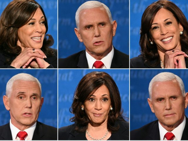 OPSHOT - (COMBO) This combination of pictures created on October 07, 2020 shows US Democratic vice presidential nominee and Senator from California Kamala Harris and US Vice President Mike Pence during the vice presidential debate in Kingsbury Hall at the University of Utah on October 7, 2020, in Salt Lake …