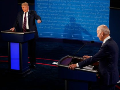 Democratic Presidential candidate and former US Vice President Joe Biden (R) and US President Donald Trump take part in the first presidential debate at Case Western Reserve University and Cleveland Clinic in Cleveland, Ohio, on September 29, 2020. (Photo by Morry Gash / POOL / AFP) (Photo by MORRY GASH/POOL/AFP …