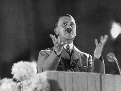 circa 1936: German Fuhrer and Nazi leader Adolf Hitler (1889 - 1945) gesticulates from a podium during a speech, Germany. (Photo by Hulton Archive/Getty Images)
