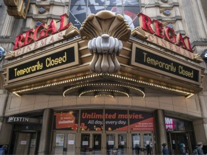 NEW YORK, NY - MARCH, 17: A Regal Cinemas remains closed on March 17, 2020 in New York City. Schools, businesses and most places where people congregate across the country have been shut down as health officials try to slow the spread of COVID-19. (Photo by Victor J. Blue/Getty Images)