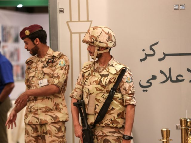 Saudi security forces stand guard at the press centre of a summit of Islamic nations in the Saudi holy city on Mecca on May 30, 2019. - Arab and Muslim leaders began gathering in the holy city of Mecca today for three summits, as host Saudi Arabia seeks to rally …