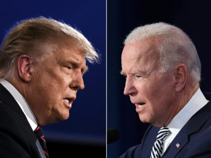 TOPSHOT - (COMBO) This combination of pictures created on September 29, 2020 shows US President Donald Trump (L) and Democratic Presidential candidate former Vice President Joe Biden squaring off during the first presidential debate at the Case Western Reserve University and Cleveland Clinic in Cleveland, Ohio on September 29, 2020. …