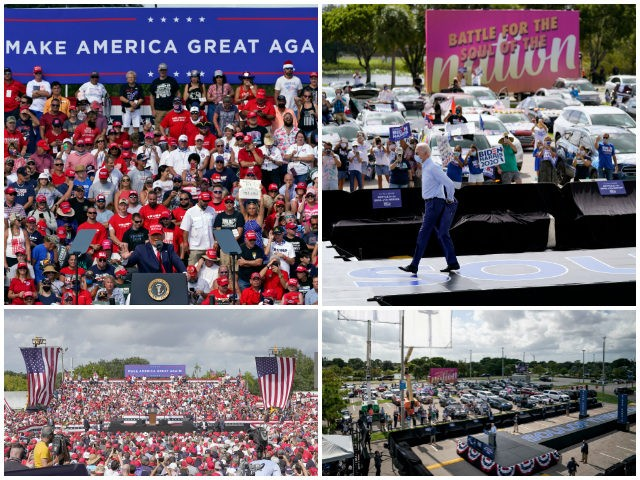 President Donald Trump gestures during a campaign rally Thursday, Oct. 29, 2020, in Tampa, Fla. (AP Photo/Chris O'Meara) President Donald Trump speaks to the crowd during a campaign rally Thursday, Oct. 29, 2020, in Tampa, Fla. (AP Photo/Chris O'Meara) Democratic presidential candidate former Vice President Joe Biden removes his jacket …