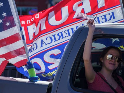 Trump supporters participate in a car parade on October 24, 2020 in El Paso, Texas. (Photo by Paul Ratje / AFP) (Photo by PAUL RATJE/AFP via Getty Images)