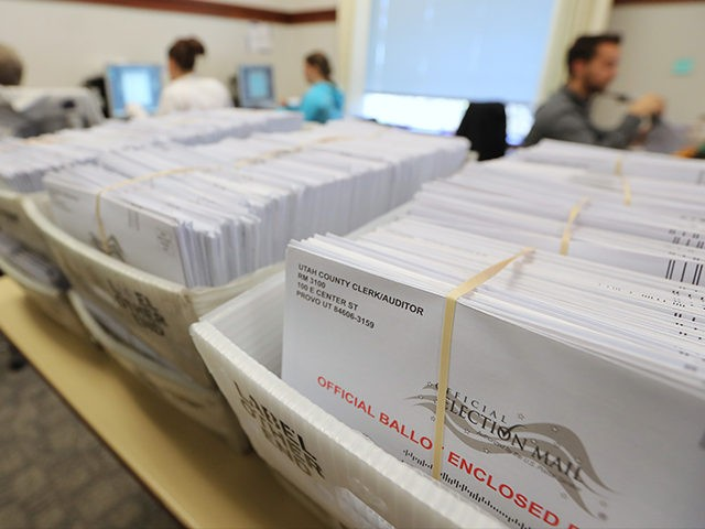 PROVO, UT - NOVEMBER 6: Thousands of ballots sit in boxes as Utah County election workers process the mail-in ballots for the midterm elections on November 6, 2018 in Provo, Utah. Utah early voting has been highest ever in Utah's midterm elections. One of the main proportions on the ballet …