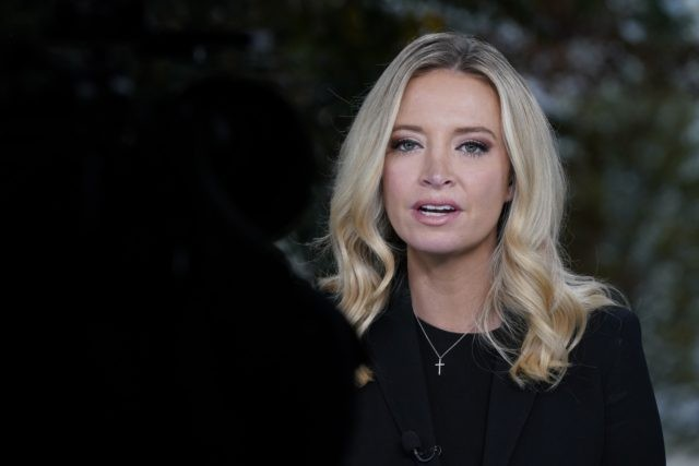 White House press secretary Kayleigh McEnany, is interviewed by Fox News, Sunday, Oct. 4, 2020, at the White House in Washington. (AP Photo/Jacquelyn Martin)