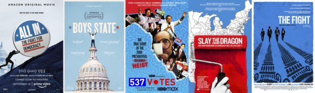 """This combination photo shows poster art for political documentaries, from left, """"All In: The Fight for Democracy,"""" """"Boys State,"""" """"537 Votes,"""" """"Slay the Dragon,"""" and """"The Fight."""" The election has unleashed an avalanche of documentaries like no season before it. Dozens of films, exploring issues from gerrymandering to white supremacists, …"""
