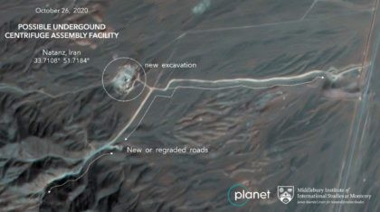 This Monday, Oct. 26, 2020, satellite image from Planet Labs Inc. that has been annotated by experts at the James Martin Center for Nonproliferation Studies at Middlebury Institute of International Studies shows construction at Iran's Natanz uranium-enrichment facility that experts believe may be a new, underground centrifuge assembly plant. Satellite …