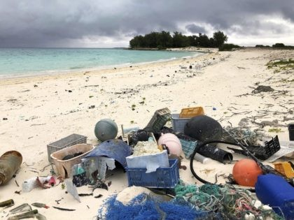 In this Oct. 22, 2019, photo, plastic and other debris sits on the beach on Midway Atoll in the Northwestern Hawaiian Islands. According to a study released on Friday, Oct. 30, 2020, more than a million tons a year of America's plastic trash isn't ending up where it should. The …