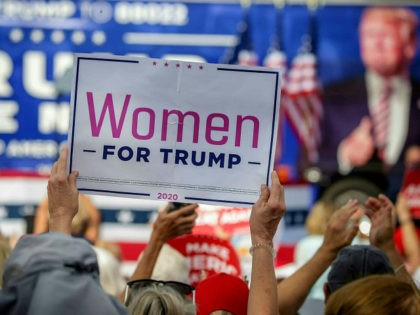 A Women For Trump sign is held as US Vice President Mike Pence speaks at a rally in The Villages, Florida on October 10, 2020. - President Donald Trump appeared maskless before hundreds of supporters on October 10, 2020 for his first public event since contracting Covid-19, declaring from the …