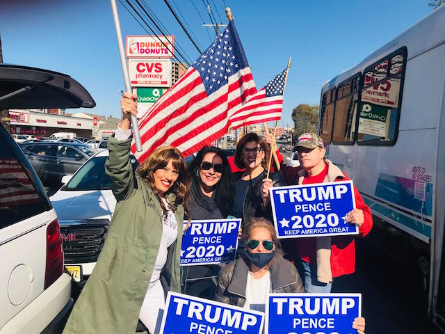 A group of Trump supporters organizes a caravan down Bergenline Avenue in Hudson County, New Jersey, October 31, 2020.