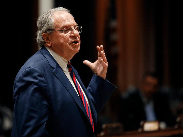Massachusetts House Speaker Robert DeLeo speaks at the Massachusetts Statehouse, Wednesday, Jan. 2, 2019, in Boston, prior to the swearing-in of the 160-member House of Representatives to new two-year terms on Beacon Hill. (AP Photo/Elise Amendola)
