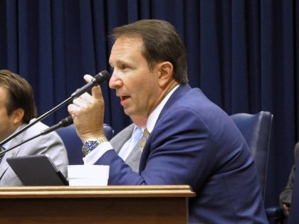 FILE - In a Thursday, Aug. 16, 2018 file photo, Attorney General Jeff Landry speaks during a Bond Commission hearing, in Baton Rouge, La. Landry pushed for a hearing of the House criminal justice committee Tuesday, March 12, 2019 in which Louisiana lawmakers heard hours of testimony about the state's …