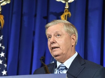Sen. Lindsey Graham, R-S.C., gives his victory speech after winning re-election Tuesday, Nov. 3, 2020, in Columbia, S.C. (AP Photo/Meg Kinnard)