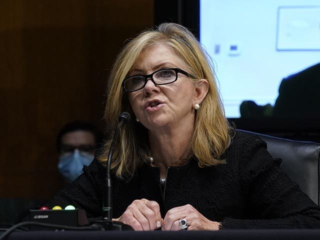 Sen. Marsha Blackburn, R-Tenn., questions former FBI deputy director Andrew McCabe during a Senate Judiciary Committee hearing on Capitol Hill in Washington, Tuesday, Nov. 10, 2020, on a probe of the FBI's Russia investigation. (AP Photo/Susan Walsh, Pool)
