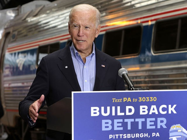 PITTSBURGH, PENNSYLVANIA - SEPTEMBER 30: Democratic U.S. presidential nominee Joe Biden speaks during a campaign stop at Pittsburgh Union Station September 30, 2020 in Pittsburgh, Pennsylvania. Ohio. Biden was on a day-long rail trip across Ohio and Pennsylvania following last night's debate with President Donald Trump. (Photo by Alex Wong/Getty …