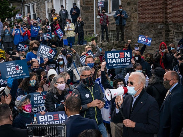 PHILADELPHIA, PA - NOVEMBER 03: Democratic presidential nominee Joe Biden rallies supporters in the West Oak Lane neighborhood of Philadelphia on November 03, 2020 in Philadelphia, Pennsylvania. As polls open on Election Day, nearly 100 million Americans have already cast their ballots through early voting and mail-in voting. (Photo by …