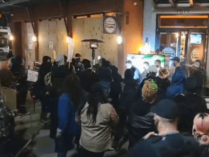 BLM protesters in Walnut Creek, CA, attack Bourbon Street restaurant staff and a patron. Police made no arrests. (Twitter Video Screenshot )