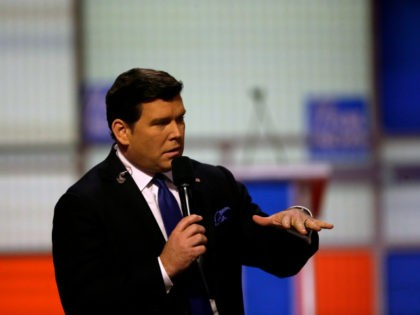 Moderator Bret Baier speaks before a Republican presidential primary debate at Fox Theatre, Thursday, March 3, 2016, in Detroit. (AP Photo/Carlos Osorio)