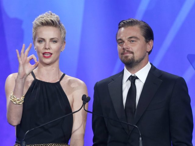 Charlize Theron and Leonardo DiCaprio onstage at the 24th Annual GLAAD Media Awards at the JW Marriott on Saturday, April 20, 2013 in Los Angeles. (Photo by Todd Williamson/Invision/AP)