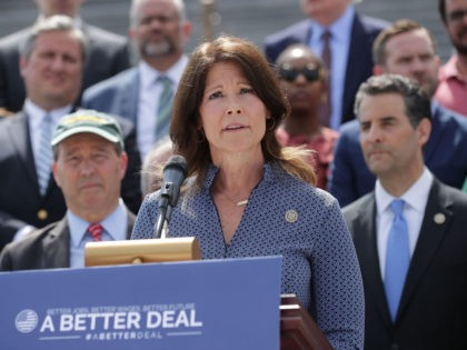 WASHINGTON, DC - MAY 21: Rep. Cheri Bustos (D-IL) joins a group of fellow Democrats and their supporters to introduce a new campaign to retake Congress during a news conference at the U.S. Capitol May 21, 2018 in Washington, DC. The campaign, called 'A Better Deal for Our Democracy,' aims …