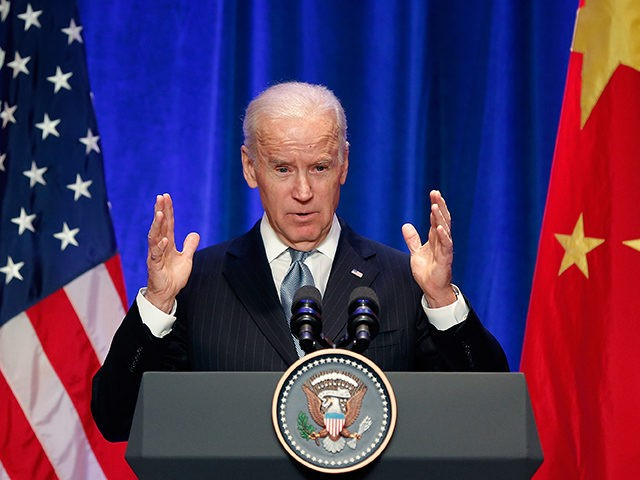 BEIJING, CHINA - DECEMBER 05: U.S Vice President Joe Biden speaks at a business leader breakfast at the The St. Regis Beijing hotel on December 5, 2013 in Beijing, China. U.S Vice President Joe Biden is on an official visit to China from December 4 to 5. (Photo by Lintao …