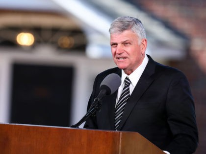 Franklin Graham delivers the eulogy during the funeral of his father Reverend Dr. Billy Graham in Charlotte, North Carolina. Graham, who preached to millions of faithful face to face over his decades-long career and tens of millions more through the power of television, died last week at age 99, leaving …
