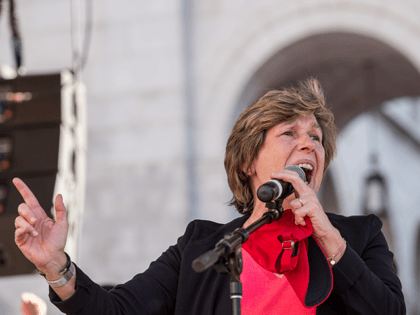 American Federation of Teachers president Randi Weingarten speaks to a crowd of striking teachers in Grand Park on January 22, 2019 in downtown Los Angeles, California. Thousands of striking teachers, educators, students, parents, and supporters cheered for victory at a massive rally after it was announced that a tentative deal …