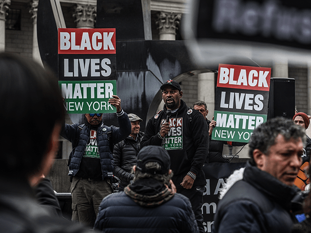 Hawk Newsome, a leader in the Black Lives Matter movement, speaks during a rally against fascism on March 16, 2019 in New York City. New York City is one of the many cities around the world marking the UN Day for the Elimination of Racial Discrimination. (Photo by Stephanie Keith/Getty …