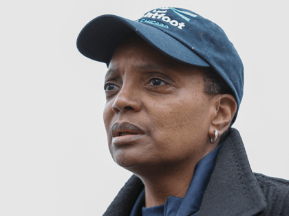 Chicago mayoral candidate Lori Lightfoot speaks to the press outside of the polling place at the Saint Richard Catholic Church in Chicago, Illinois on April 2, 2019. - Chicago residents went to the polls in a runoff election Tuesday to elect the US city's first black female mayor in a …