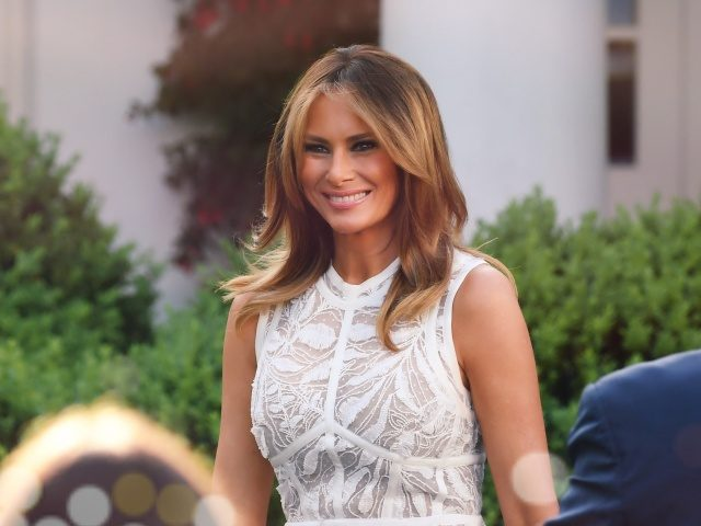 First Lady Melania Trump arrives to attend a ceremony for US golfer Tiger Woods in the Rose Garden of the White House in Washington, DC, on May 6, 2019. (Photo by SAUL LOEB / AFP) (Photo credit should read SAUL LOEB/AFP via Getty Images)